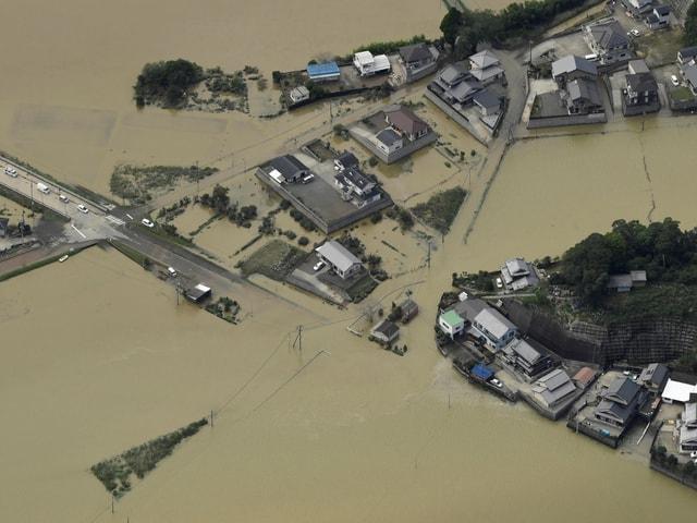 Überschwemmte Gebiete.