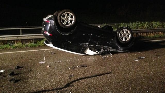 Unfall in Gossau - Auto liegt auf dem Dach