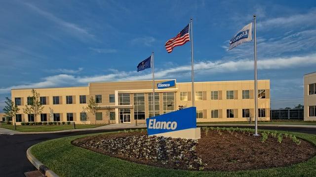 Firmengebäude von Elanco mit US-Flagge vorne dran