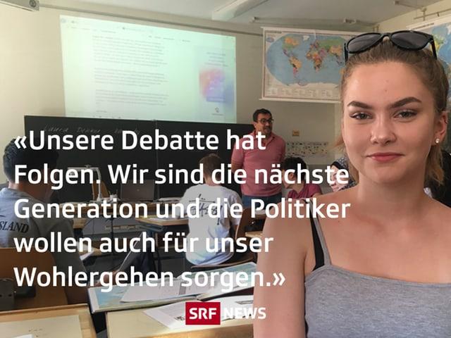 """Eine junge Frau, darüber ein Text: """"Unsere Debatte hat Folgen. Wir sind die nächste Generation und die Politiker wollen auch für unser Wohlergehen sorgen."""""""