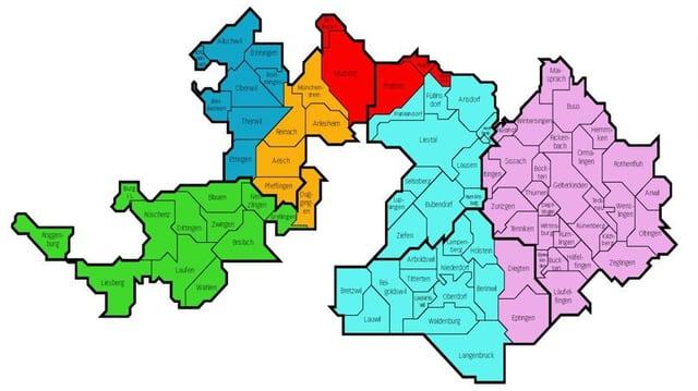 Karte des Kanton Basellandschaft, unterteilt in sechs Regionen mit unterschiedlichen Farben