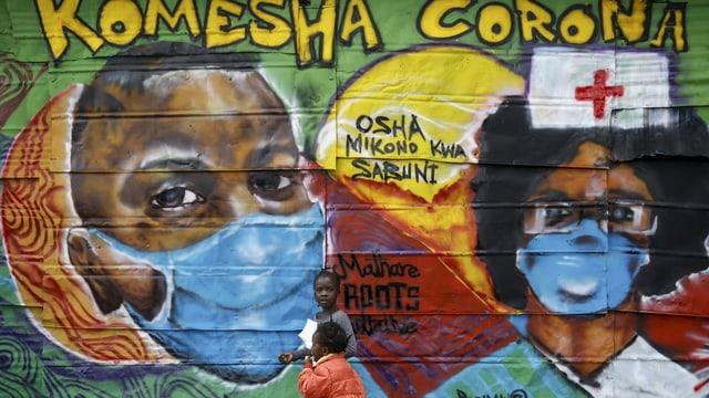 """""""Stoppt das Coronavirus in der Nachbarschaft-Graffti"""" auf Swahili in Kenia."""