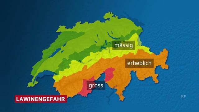 Schweizerkarte mit roter Zone im Südwallis und im Nordtessin.
