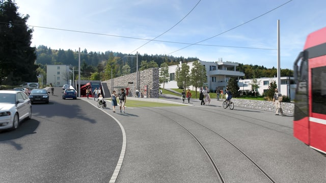 Das geplante Tram Region Bern im Aufstieg nach Ostermundigen-Rüti