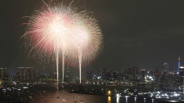 Feuerwerk über der Skyline von Tokio