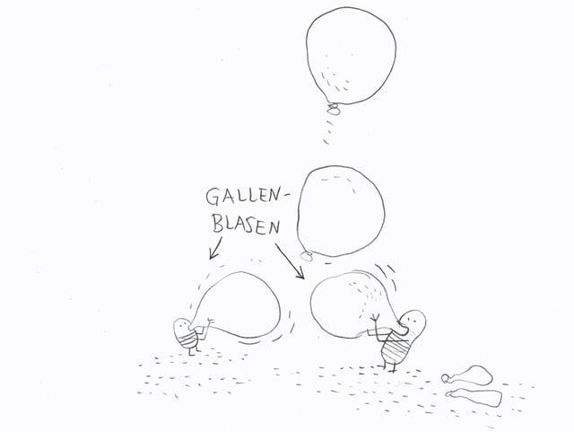 Illustration von Gallenblasen.