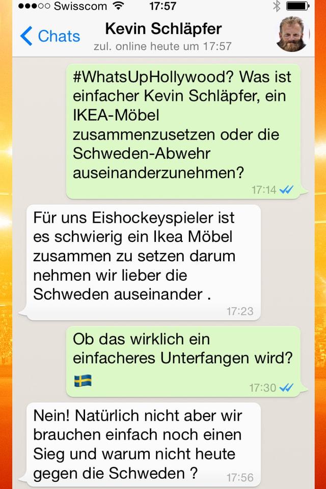 Kevin Schläpfer zieht 3 Punkte einem IKEA-Möbel vor.
