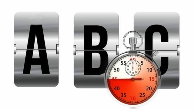 Der Schriftzug ABC, davor eine Stoppuhr.