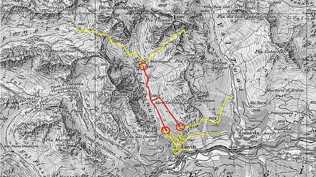 Kartenausschnitt von der Region Lavin. Eingezeichnet sind die gesperrten Wege.