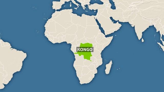 Karte von Afrika mit Kongo-Kinshasa