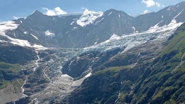 Eine Geröllhalde, oberhalb ein Stück Gletscher.