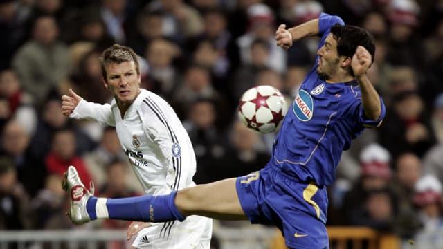 Reals David Beckham gegen Juves Gianluca Zambrotta.