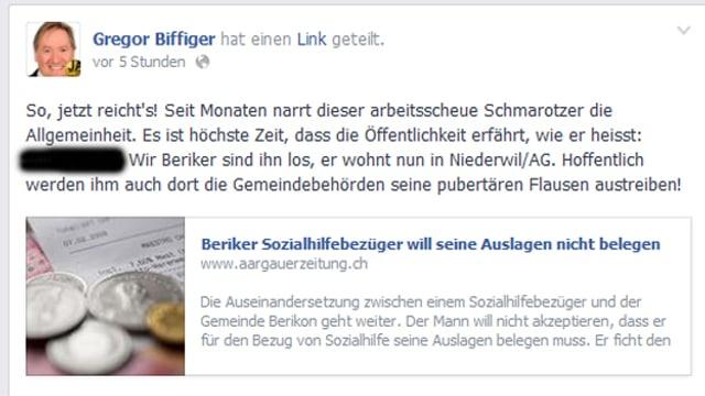 Facebook Seite von Gregor Biffiger.