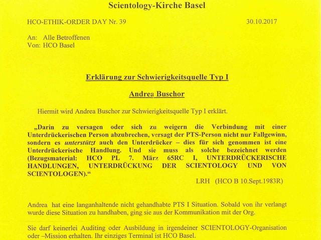 Gelbes Dokument, das Andrea Buschor zur «Schwierigkeitsquelle Typ I» erklärt.