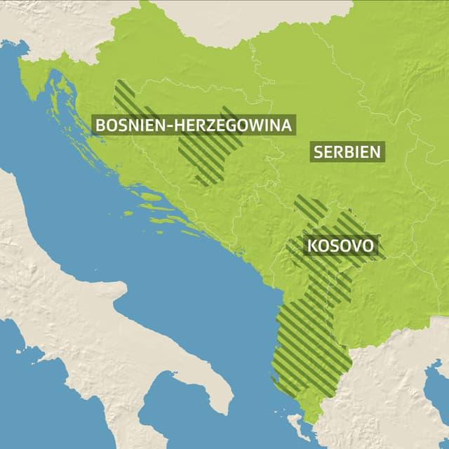 Regionen mit muslimischer Bevölkerungsmehrheit auf Balkan.