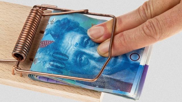 Hundert Schweizer Franken in einer Mausefalle