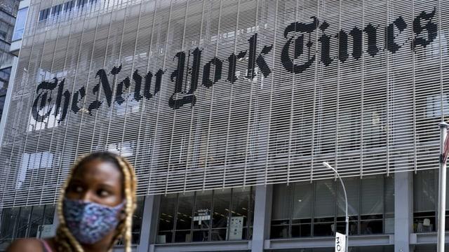 Gebäude mit riesigem Schriftzug «New York Times».