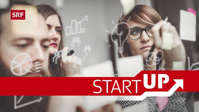 Junge Erwachsene auf Ideensuche, davor der Schriftzug 'Start-up'