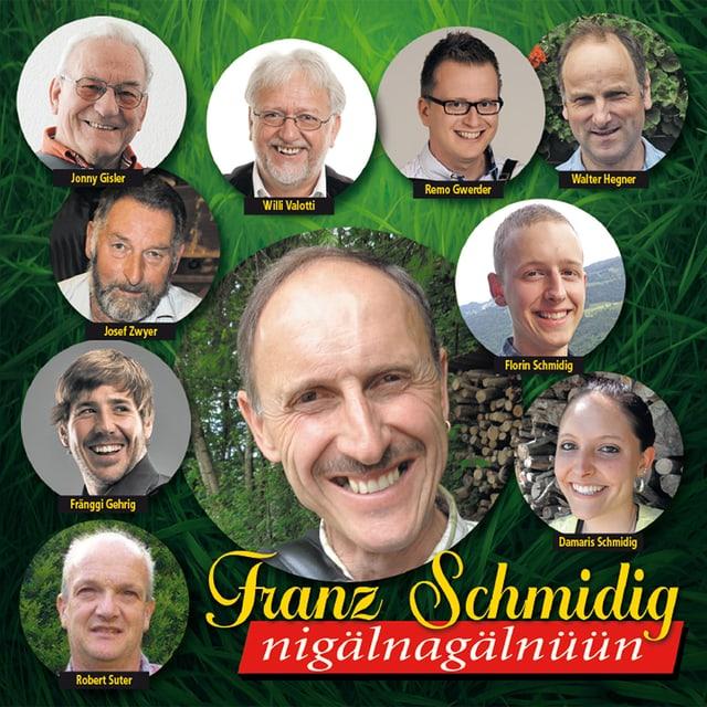Franz Schmidig umrahmt von seinen MItmusikern.