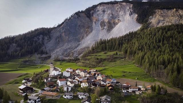 Blick auf das Dorf Brienz mit dem Felshang.