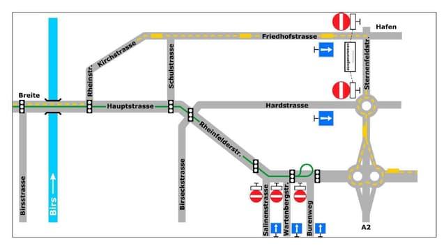 Plan mit den gesperrten Strassen.