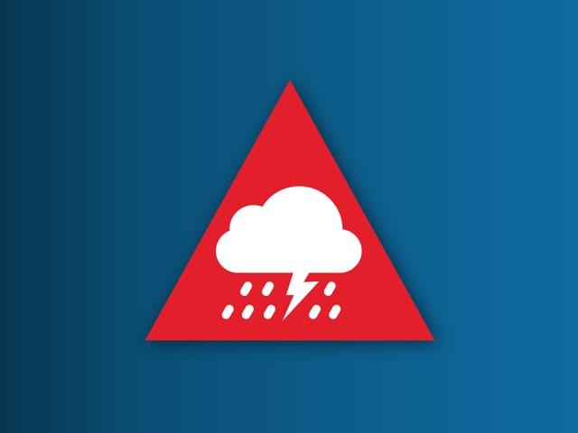 Ein rotes Warnsymbolbild mit einer Gewitterwolke