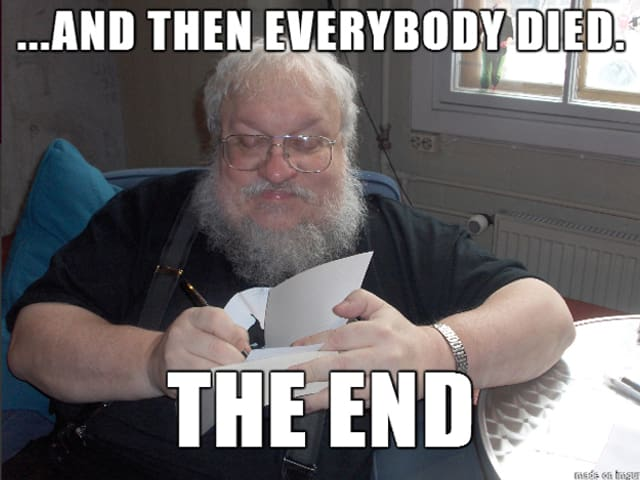 """Martin schreibt auf ein Papier. In grosser Schrift steht auf dem Bild """"...and everybody died. The end."""""""