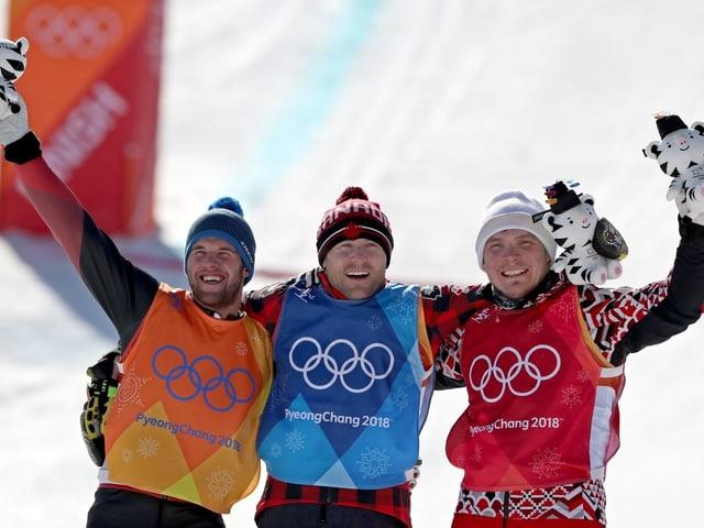 Marc Bischofberger (Silber), Kevin Drury (Gold) und Sergej Ridzik (Bronze).