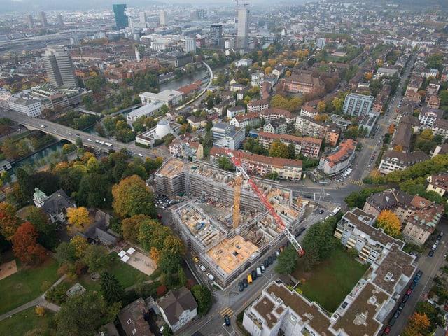 Die Siedlung Kronenwiese von oben