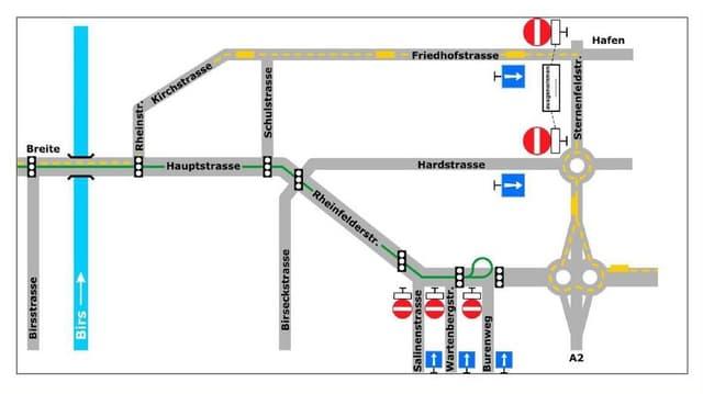 Plan von Strassen in Birsfelden. Eingezeichnet ist darauf, welche Strassen im Pendlerverkehr nur noch in eine Richtung befahren werden dürfen vpon Auswärtigen.