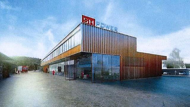 Zeichnung eines modernen Industriegebäudes