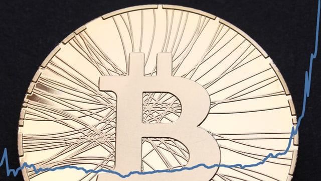 Eine Bitcoin-Münze, darübergelegt der Kursverlauf des Bitcoins laut der Bitcoin-Handelsplattform Mt.Gox.