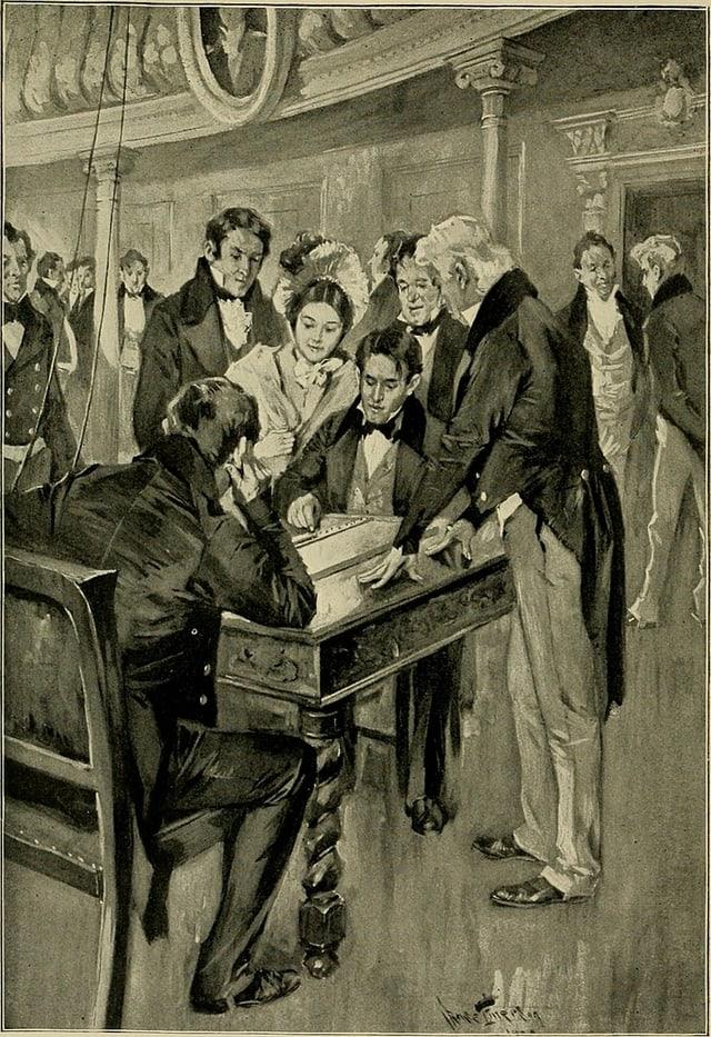 Illustration: Zwei Männer sitzen am an einem Tisch vor einem Gerät, darum herum Zuschauer und eine Zuschauerin.