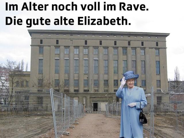 Queen Elizabeth steht vor dem Berghain und winkt