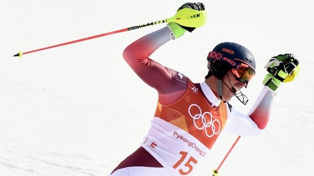 Ramon Zenhäusern gudogna argient en il slalom.
