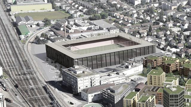 Visualisierung des neuen Fussballstadions