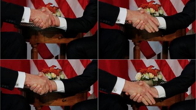Nahaufnahme vom Händedruck zwischen Trump und Macron.