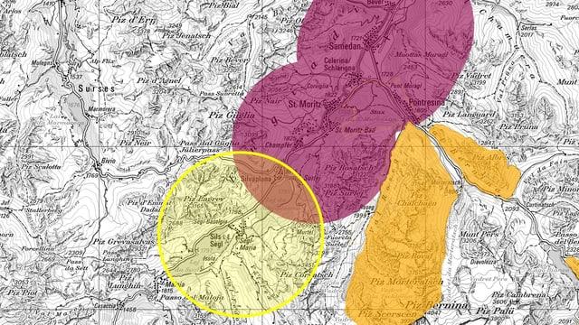 Kartenausschnitt mit farbigen Kreisen.