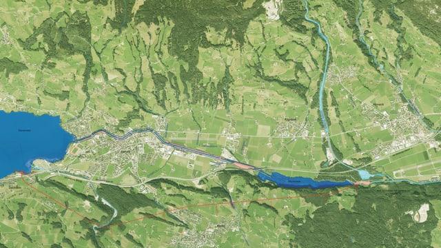 Linienführung des Hochwasserentlastungsstollens aus der Vogelperspektive vom Sarnersee zum Wichelsee.