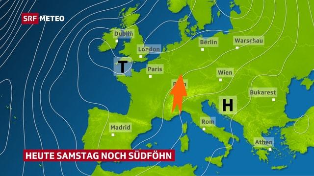 Europakarte mit Tief über der Bretagne und Hoch über der Adria. Roter Südföhnpfeil über den Alpen.