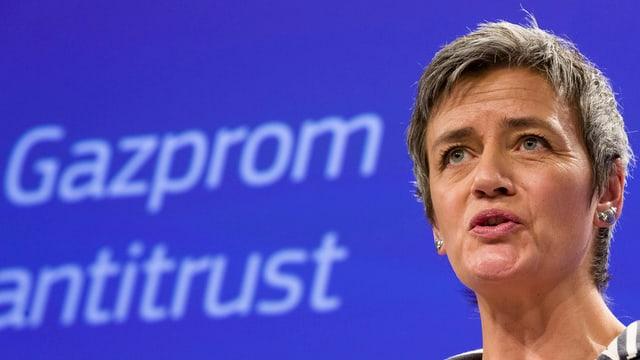 La cumissaria da l'UE Margrethe Vestager.