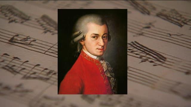 Mozartbild, Notenblatt einer Partitur im Hintergrund.