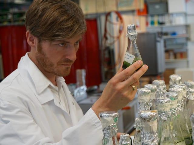 Professor Alexander Mathys schaut auf seine Algen