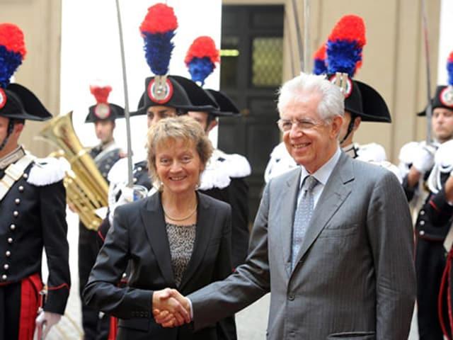 Die aktuelle Bundespräsidentin mit Italiens Ministerpräsident Mario Monti