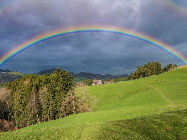 ein schöner Regenbogen spannt sich übers Land.