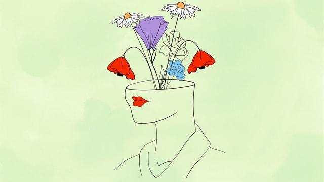 Illustration: Frau, der Blumen aus dem Kopf wachsen vor lindgrünem Hintergrund