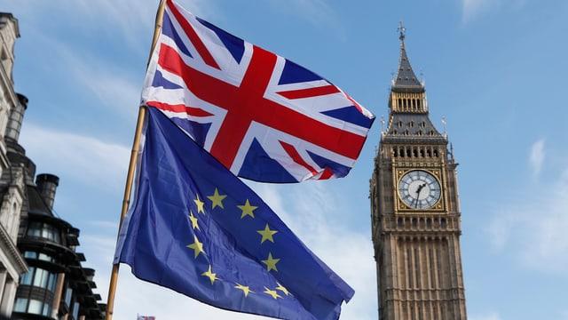 Il maletg mussa las bandieras da la Gronda Britannia e da l'Uniun Europeica.