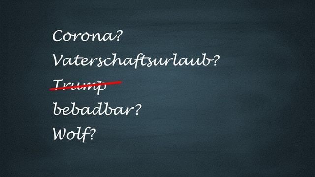 """Wandtafel mit den Begriffen """"Corona"""", """"Vaterschaftsurlaub"""", """"bebadbar"""""""