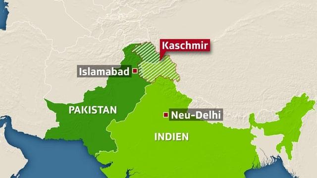Kaschmir-Region auf der Landkarte