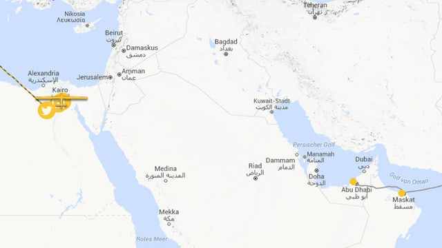 Karte der arabischen Halbinsel.